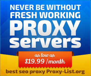 Never be without fresh working proxy servers. As low as 19.99 /month. Best SEO proxy - Proxy-List.org!